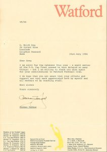 Picture of a letter from Graham Taylor of Watford Football Club thanking Greg Welch