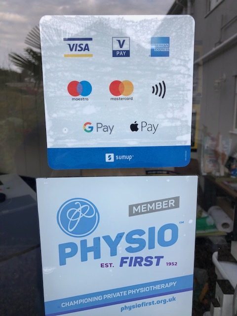 Picture of sign showing various payment methods including Visa Vpay American Express Maestro Mastercard Contactless GPay and Apple Pay